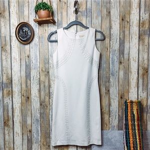 Cluny White Mixed Media Fitted Mini Dress